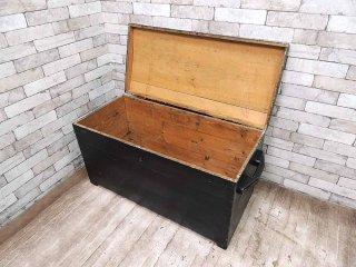 デポー39購入 UKアンティーク シャビーペイント 木製ブランケットボックス トイボックス 収納箱 ビンテージ カントリー ディスプレイ 什器 ●