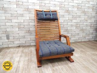 BC工房 チーク無垢材 アームチェア 座布団 和椅子 枕付き 座椅子 工芸椅子 クラフトチェア B ●