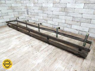 UKアンティーク ウィンドウプランターラック 木x鉄 花台 プランター台 ディスプレイ棚 什器 ビンテージ カントリー シャビー A ●