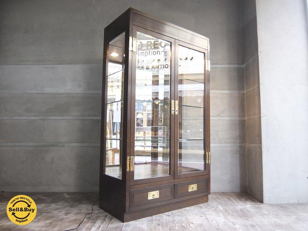 カリモク karimoku ドマーニ domani モーガントン Morganton キュリオケース 飾棚 照明付き 定価38万 ♪