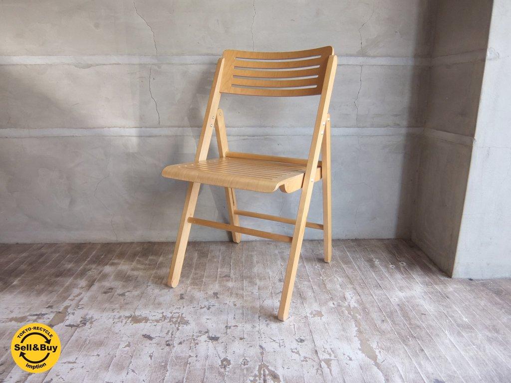 プライウッド フォールディング チェア アームレス スリッドデザイン 折りたたみ椅子 A ♪