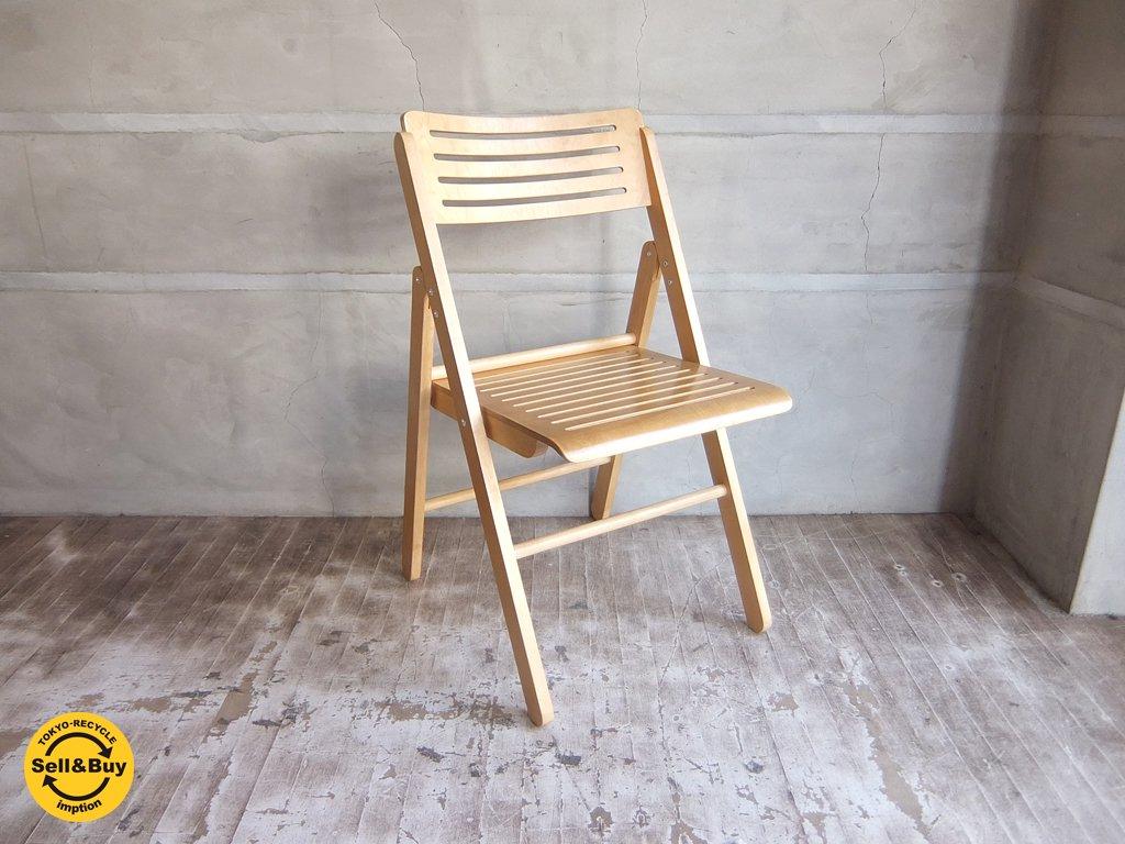 プライウッド フォールディング チェア アームレス スリッドデザイン 折りたたみ椅子 B ♪
