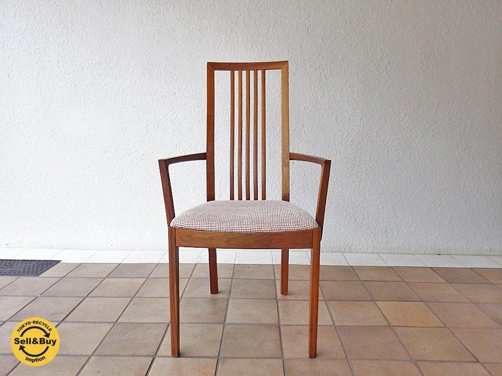 カリモク karimoku ウォールナット無垢材 アームダイニングチェア 食堂椅子 CT48モデル B ◇