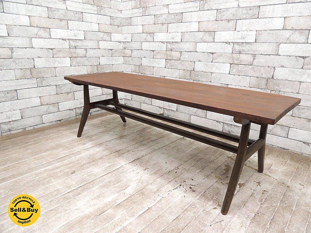 レトロテーブル 古材天板リメイク コーヒーテーブル センターテーブル ビンテージ ●