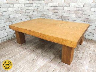 BC工房 タモ材 ローテーブル リビングテーブル 天然木無垢材 一枚板 座卓 耳付き 厚み5cm ●