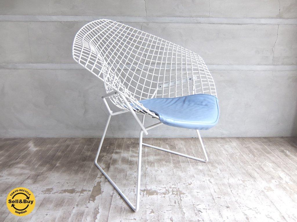 ノール Knoll ダイアモンドチェア Diamond Chair ブルークッション 付きハリーベルトイヤ デザイン♪