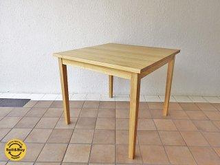 無印良品 MUJI タモ 無垢材 ダイニングテーブル 幅85cm ナチュラル 美品 ◇