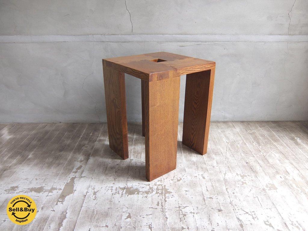 無垢材 オーク材 格子 組み木 サイドテーブル スツール ♪