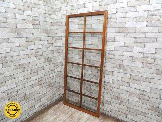 古民家 木製開き戸 片開き ゆらゆらガラス W77xH171cm 建具 古民具 ビンテージドア 年代物 開き扉 ●