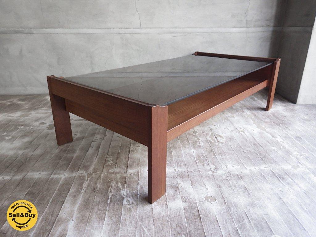 ビンテージ チーク材 スモークガラス センターテーブル ローテーブル ♪