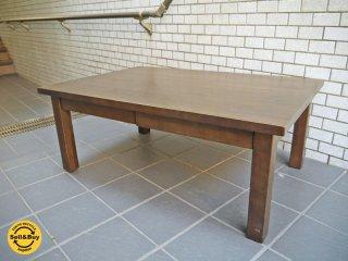 無印良品 MUJI タモ材 ローテーブル 引き出し付き ブラウン B ■
