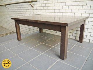 無印良品 MUJI タモ材 ローテーブル 引き出し付き ブラウン A ■