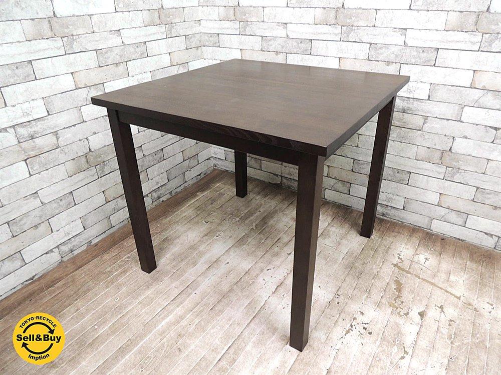 無印良品 MUJI タモ材 ブラウン ダイニングテーブル シンプルデザイン W80 廃番品 ●
