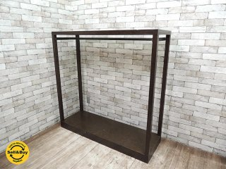 オーダー店舗什器 ガラス天板 木製フレーム アイアン ハンガーラック 洋服掛け アパレル 古着屋 ●