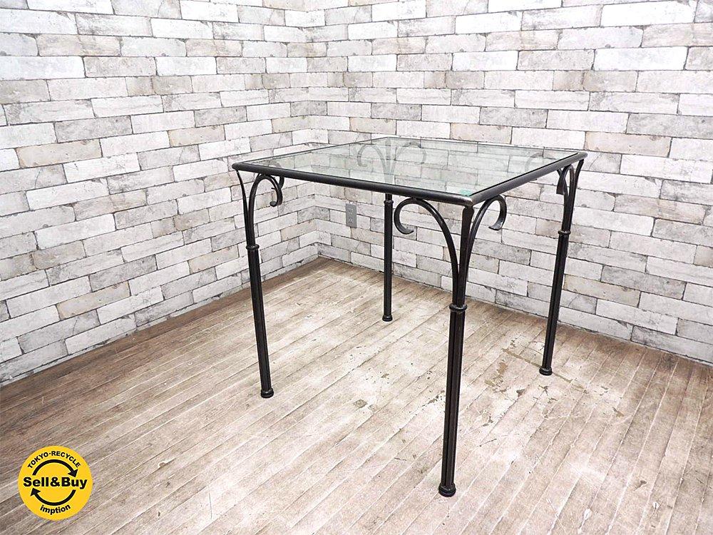 クラシカルデザイン アイアン x 強化ガラス ダイニングテーブル カフェテーブル 鉄脚 ●