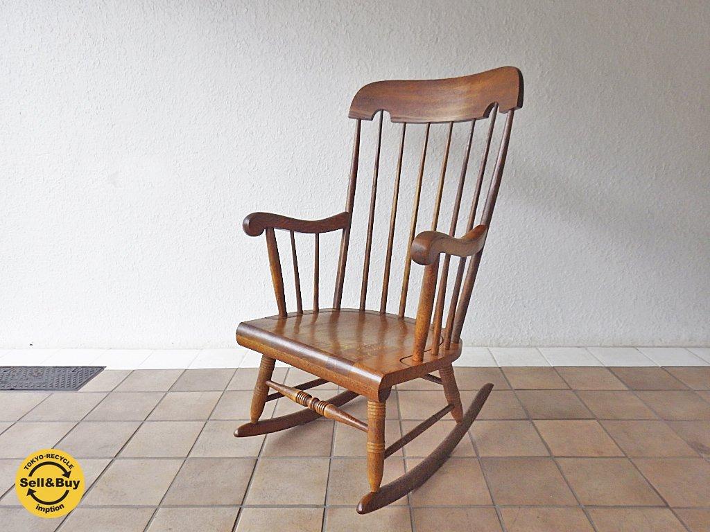 飛騨産業 キツツキ 穂高 安楽椅子 ロッキングチェア C63 定価約6.8万 コロニアル ウィンザー ◇