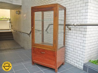 ジャパンビンテージ 木味 ガラスショーケース パンケース 什器 レトロ ■