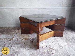 ビンテージ ローズウッド プライウッド スモークガラス センターテーブル コーヒーテーブル ♪