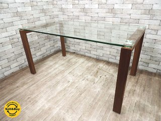 モーダ・エン・カーサ moda en casa アップデート ダイニングテーブル ウォールナット色フレーム ガラストップ ●