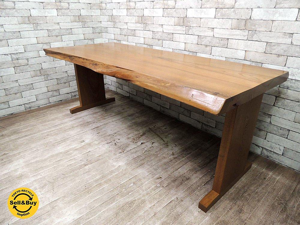 天然木 総無垢材 ダイニングテーブル タモ 欅 耳付き 厚み6cm クラフト家具 ●
