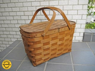 BASKETVILLE ビンテージ ピクニックバスケット 手編み パイン材 ■
