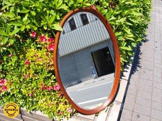 北欧 ビンテージ チーク材 オーバル型 ウォールミラー 壁掛け 鏡 ミラー ★