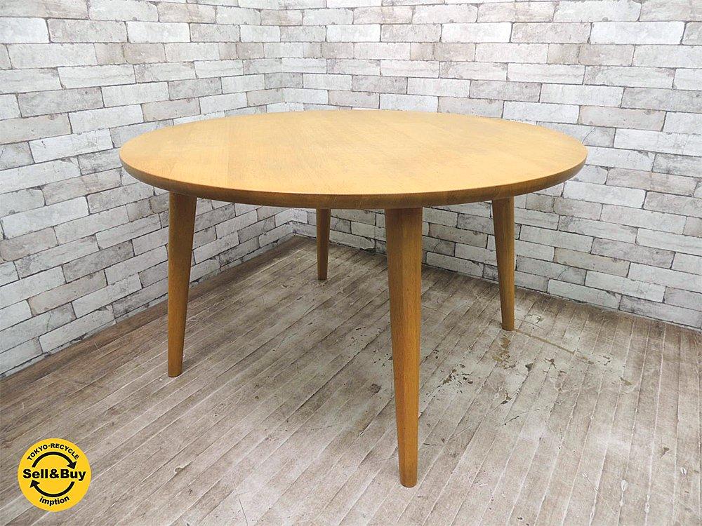 柏木工 KASHIWA オーク材 無垢材 ダイニングテーブル ラウンドテーブル シンプルモダンデザイン ●