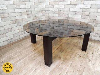格子脚 組木 スモークガラス天板 センターテーブル コーヒーテーブル クラフトデザイン モダンデザイン ●
