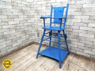 UKアンティーク 2WAY ベビーチェア 子供椅子 ハイチェア キッズチェア ペイント イギリス ビンテージ 英国家具 ●