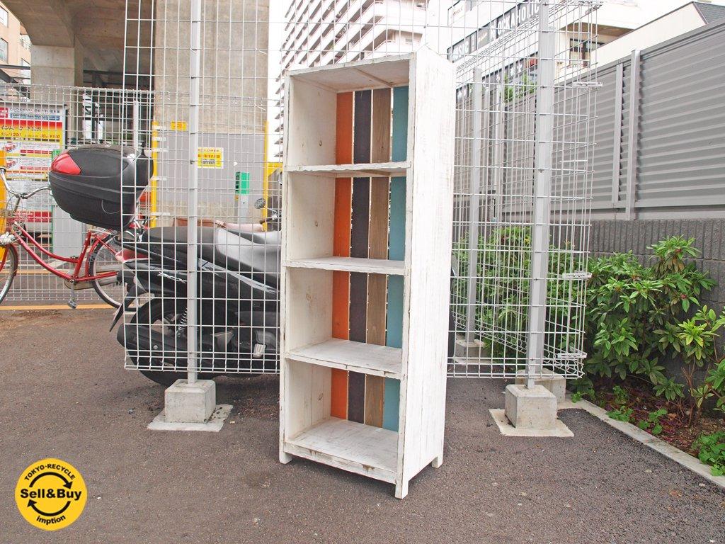 シャビーシック ホワイトペイント シェルフ 4段 木製 飾り棚 ★