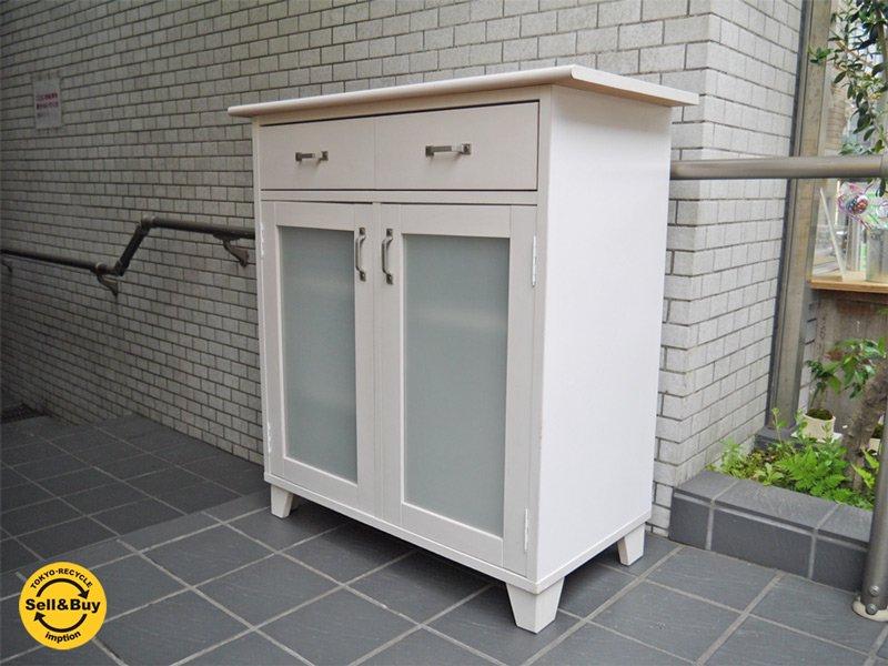 モモナチュラル Momo Natural ランド LAND キッチンカウンター ホワイト タイルトップ ■