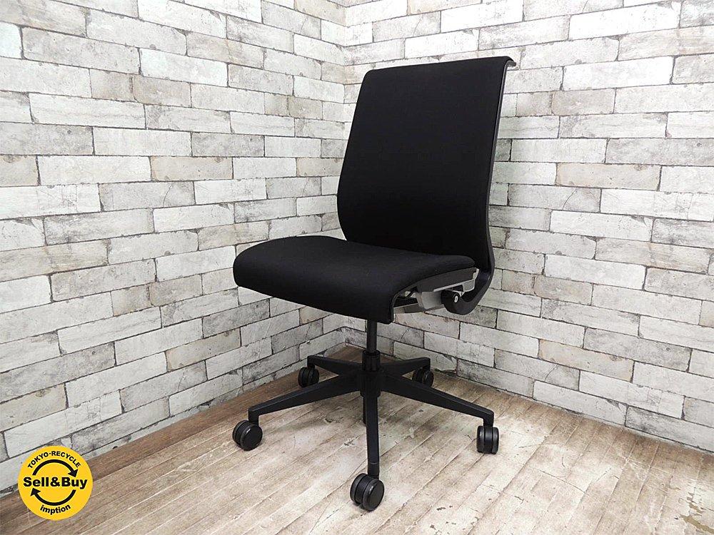 スチールケース STEELCASE シンクチェア Think chair デスクチェア オフィスチェア アーム無し 布張り ●