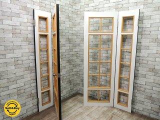 木製開き扉セット ペイントドア ガラス無しの格子戸 ドアノブ付 白黒 W205xH198cm 建具 ドア 扉 ●