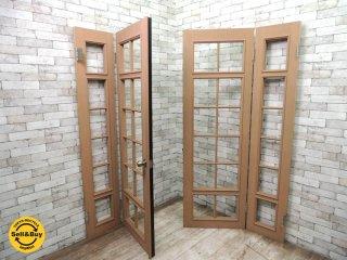 木製開き扉セット ペイントドア ガラス無しの格子戸 ドアノブ付 茶黒 W205xH198cm 建具 ドア 扉 リノベーション ●