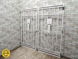 鉄扉 アイアンゲート 門扉 セット 白 W204xH196.7cm 建具 ドア 扉 リノベーション ●