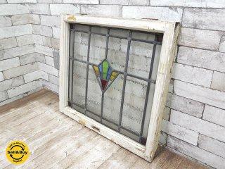 ヨーロッパアンティーク ステンドグラス 窓枠 パネル フレーム W63.7xH56.1cm ビンテージ 建具 リノベーション B ●
