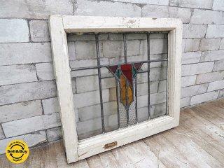 ヨーロッパアンティーク ステンドグラス 窓枠 パネル フレーム W52.3xH48.1cm ビンテージ 建具 リノベーション A ●