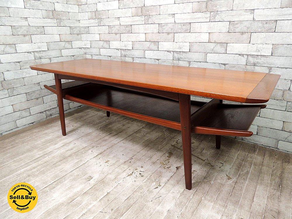 デンマーク チーク材 ビンテージ コーヒーテーブル センターテーブル W160cm 北欧家具 ●