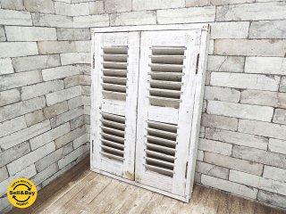 ヨーロッパ アンティーク 木製 ルーバー窓 ホワイトペイント W59.3xH80.5cm 建具 ドア 扉 戸 フランス窓 ビンテージ A ●