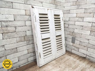 ヨーロッパ アンティーク 木製 ルーバー窓 ホワイトペイント W60xH80.3cm 建具 ドア 扉 戸 フランス窓 ビンテージ B ●