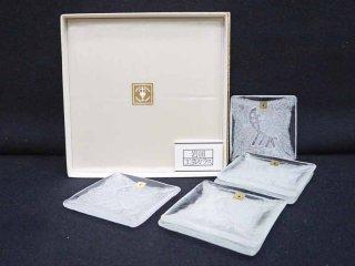 岩田工芸ガラス ビンテージ 泡入り角皿 6枚セット 元箱付き 未使用品 ●