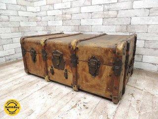 フランスアンティーク トランク ケース ボックス 収納箱 ローテーブル ビンテージ  ●