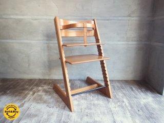 ストッケ STOKKE トリップトラップ チェア 黒 木製ガード付 革ベルト ●