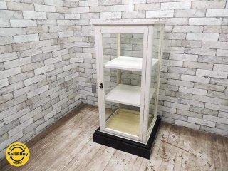 古いショーケース ディスプレイケース パンケース 陳列棚 土台付 5面ガラス ペイント 店舗什器 ●
