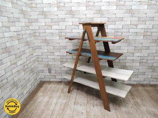 ビンテージ ラダー リメイクシェルフ シャビーペイント 木味 クラフト 店舗什器 ●
