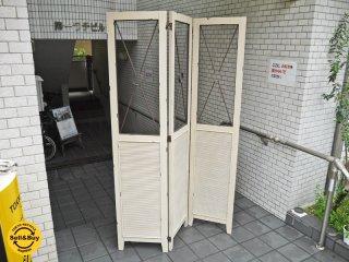クラシックスタイル シャビーシック パーテーション 3パネル ホワイト 間仕切り ■