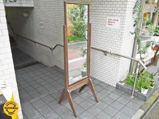 ジャパンビンテージ 木製フレーム 全身鏡 昭和レトロ スタイルミラー スタンドミラー ■