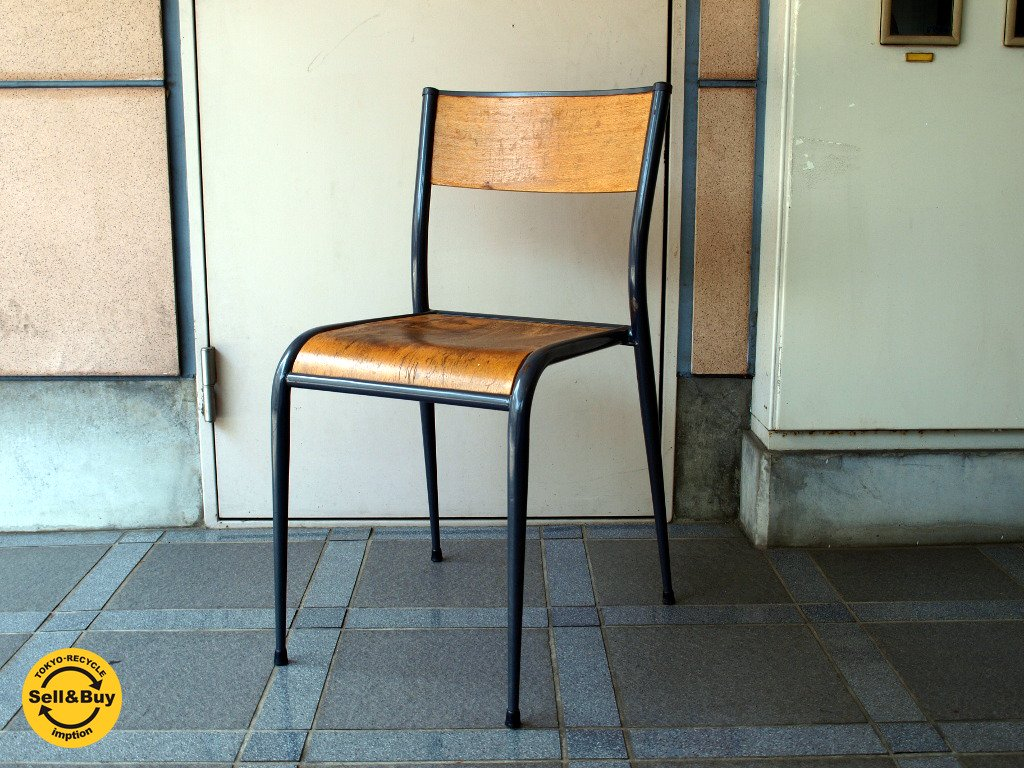 フランス ビンテージ France スクールチェア Schoolchair スタッキング 学校椅子 フランスアンティーク ★