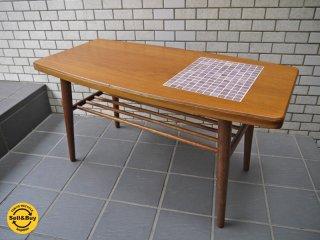 レトロフクオカ購入 チークカフェテーブル タイル入り リメイク コーヒーテーブル ■