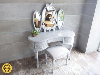 シャビーシック ホワイト ドレッサー  フレンチ収納家具 椅子付き 鏡台 ♪